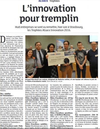 Ubicentrex et pediatre-online remportent le trophée Alsace Innovation